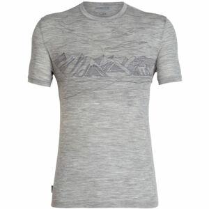 Icebreaker SPECTOR SS CREWE CORONET PEAK šedá M - Pánské sportovní tričko