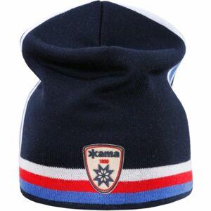 Kama PLETENÁ MERINO ČEPICE A140 modrá UNI - Retro čepice s trikolorou