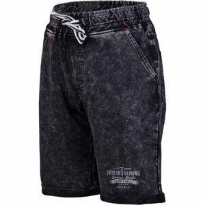 Lewro RAYEN černá 116-122 - Dětské šortky džínového vzhledu