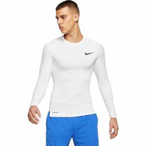 Nike NP TOP LS TIGHT M bílá XL - Pánské tričko s dlouhým rukávem