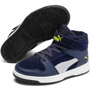 Puma REBOUND LAYUP FUR SD V PS tmavě modrá 13.5 - Dětská volnočasová obuv