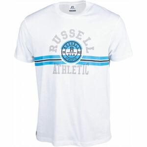 Russell Athletic COLLEGIATE STRIPE CREWNECK TEE SHIRT bílá XXL - Pánské tričko