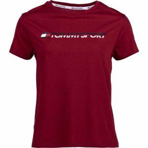 Tommy Hilfiger TEE LOGO CO/EA červená S - Dámské tričko