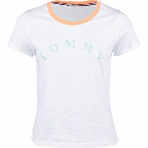 Tommy Hilfiger SS TEE SLOGAN bílá S - Dámské tričko