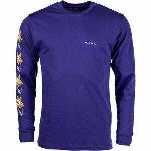 Vans MN SKULL FLOWER LS fialová M - Pánské tričko s dlouhým rukávem